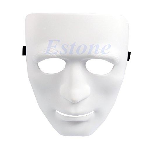Dance Crew Kostüm - Kofun Crew Full Face Kunststoff Plain Maske für Tanz/Oper Kostüm Party Dance Hip Hop weiß (Dicke Abschnitt)