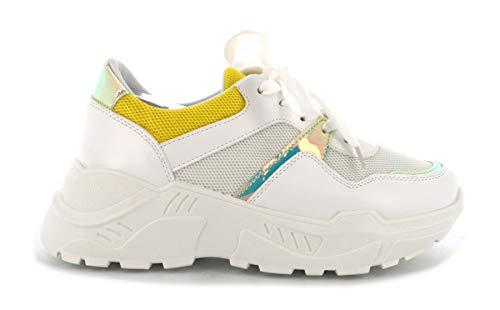 Basket Femmes Compensées - Chaussure Sneakers Bimatière Urban Talon Haut - Tennis Casuel Lacet-PU Cuir/Filets (37 EU, Jaune)