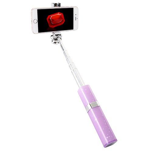 [Selfie Stick Bluetooth Lippenstift für Mädchen und Frauen] - YILON Selfie Stick Aluminiumlegierung Kabel Monopod - Für alle iPhones (iOS 5.0 +), Alle Samsung Galaxy, Note, Android Phones (Amazon Lila)