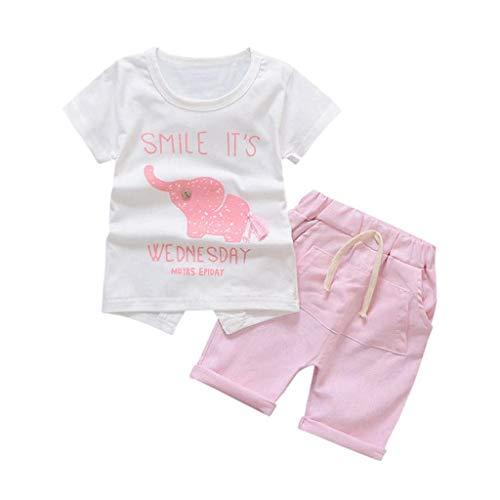 FCQNY Pijamas de Verano para niñas bebés Conjunto de Dibujos Animados Camisetas...