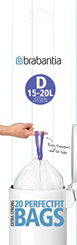 Brabantia 246760 - Bolsas de basura, código D, 15-20 l, 20 unidades