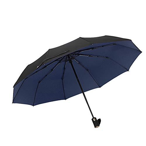 Yusann ombrello automatico pieghevole doppia protezione solare antivento blu pioggia 102cm