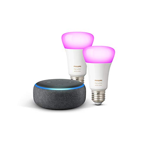 Echo Dot (3ème génération), Tissu anthracite + Philips Hue White & Color Pack de 2 ampoules LED connectées (E27), compatibles avec Bluetooth et Zigbee (aucun hub requis)