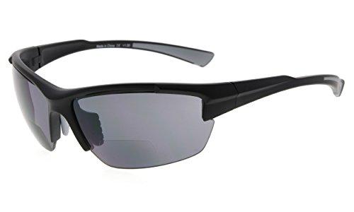Eyekepper TR90 Sport Halbrandlose Bifokale Sonnenbrille Baseball Laufen Angeln Fahren Golf Softball Wandern Leser (Schwarzer Rahmen Grauer Tempel, 2.00)