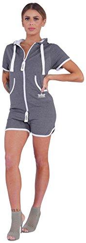 Finchgirl Hotsuit Jumpsuit Overall Onesie Jogger Einteiler (XL, Dark Grey/White) - 2