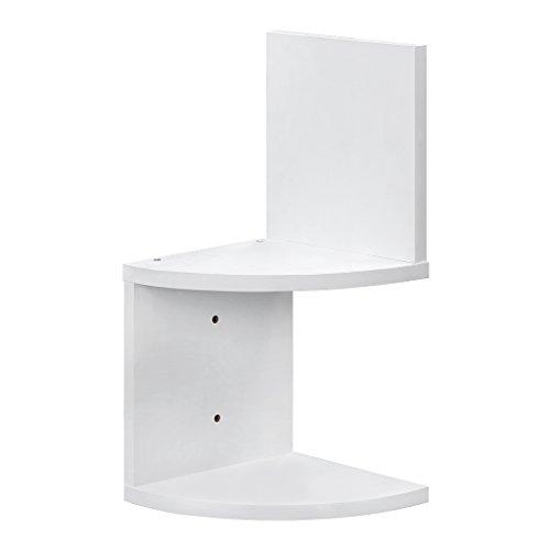 Finether 2 Tier Zig Zag Floating Wall Corner Shelf Unit Wall Mounted  Shelving Bookcase Storage Display Organizer, White Part 51