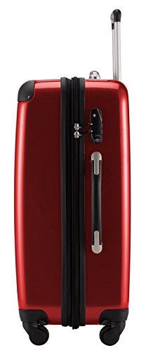 HAUPTSTADTKOFFER® 74 Liter (Mittel) Hartschalenkoffer · (65 x 41 x 26 cm) + BADEHANDTUCH (TSA Zahlenschloss, Schwarz) Rot