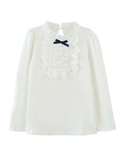 ZHUANNIAN Mädchen Lace Bowknot T-shirrt Rüschen Blumen Bluse Langarm Pullover Spitze (134(7-8Jahren), Weiß) (Blumen-bluse Puff-Ärmel)