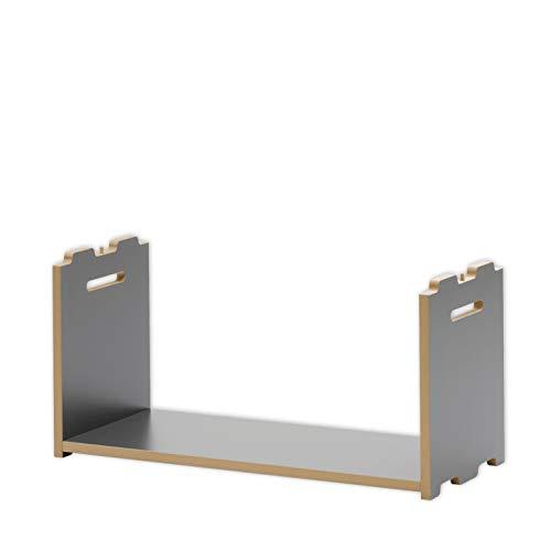 Tojo Hochstapler | Erweiterungsmodul für modulares Regalsystem | Anthrazit | Anbaumodul für EIN individuelles Wandregal/Bücherregal / CD Regal | MDF Regal