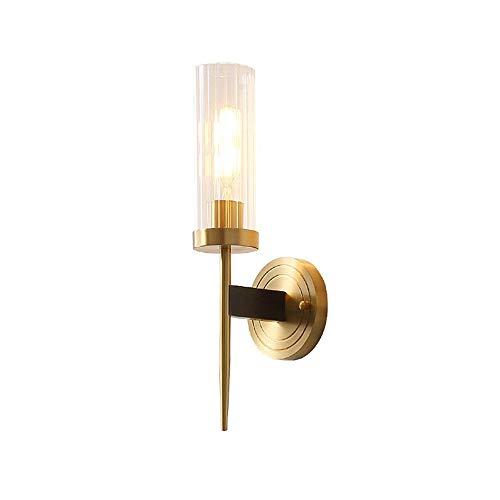 YUMUYMEY Schlafzimmerlampen-Nachttischlampenwohnzimmergang Fernsehhintergrund-Wandbeleuchtung der kupfernen Wandlampe Moderne (Farbe : Single Head) -