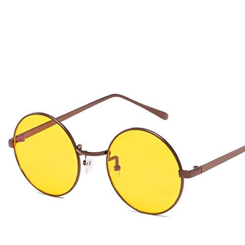 Mkulxina Anti-Blue-Light-Brille Retro Runde Metall Unisex Flache Brillen für Frauen Männer (Color : Brass, Design : Yellow Lens)