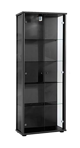 K-Möbel Standvitrine Glasvitrine Sammlervitrine mit Beleuchtung Vitrine in Schwarz (Dekor) 176x67x33 cm incl. 4 Glasböden höhenverstellbar