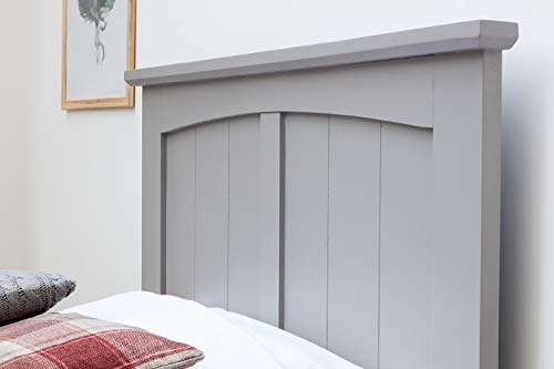 Sleep Design Beeston Grey or White Solid Wooden Bed Frame with Panel Headboard Single Size
