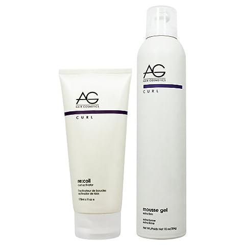 AG Hair Recoil Curl Activator 6oz & Mousse Gel 10oz Set by AG Hair Cosmetics (Recoil Curl-activator)