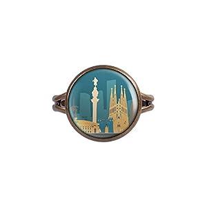 Mylery Ring mit Motiv Skyline Barcelona Spanien Sagrada Familia Madonnina bronze verschiedene Größen