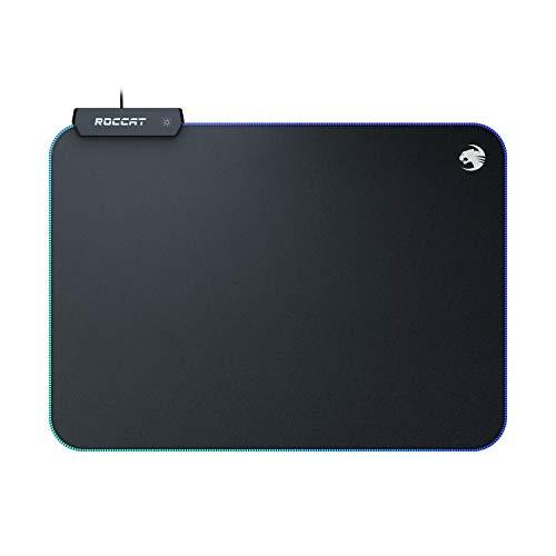 ROCCAT Sense AIMO Tapis de Souris de Gaming avec éclairage LED AIMO, Dimensions maximales de précision, Dessous caoutchouté, 350 mm x 250 mm x 3 mm Noir