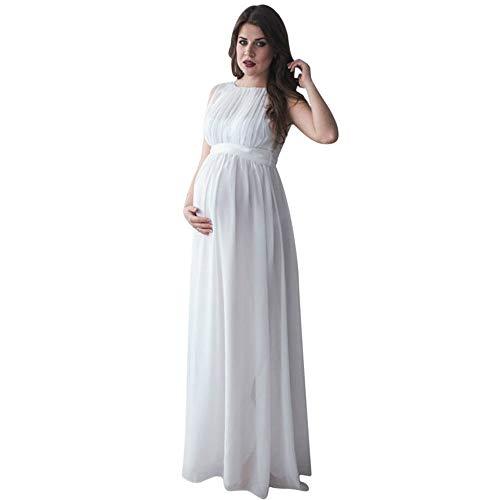 Frauen Schwangerschaftskleid, Damen Mutterschaft Spitzenkleid, trägerloses Kleid schwanger Elegante Fotografie Prop Tank Mutterschaft Pflege Kleid ärmelloses Maxi-Kleid