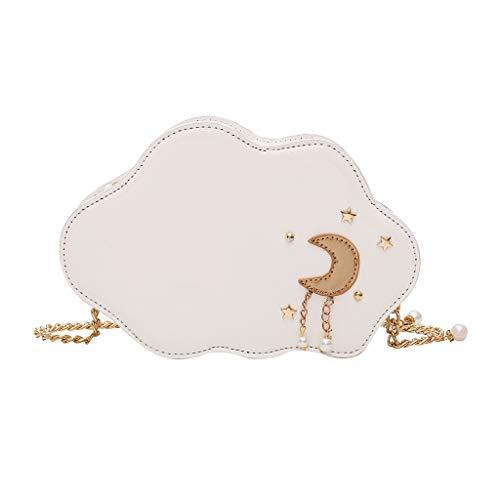Calvinbi Taschen Damen Fashion Cloud Shape Pearl Pure-Colour Chains Shoulder Casual schone Bag (Guess Jeans Gold)