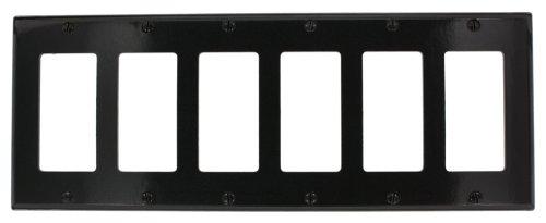 Leviton 80436-E 6-Gang Decora/GFCI Device Decora Wallplate, Standard Size, Thermoset, Device Mount, Black by Leviton