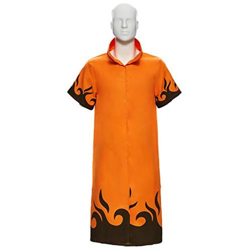QWEASZER Naruto Kleidung, Uzumaki Naruto vier Generationen von Naruto Mantel, Naruto Yondaime Hokage Mantel Kostüm weiß,Orange-XXL - Naruto 4. Hokage Cosplay Kostüm