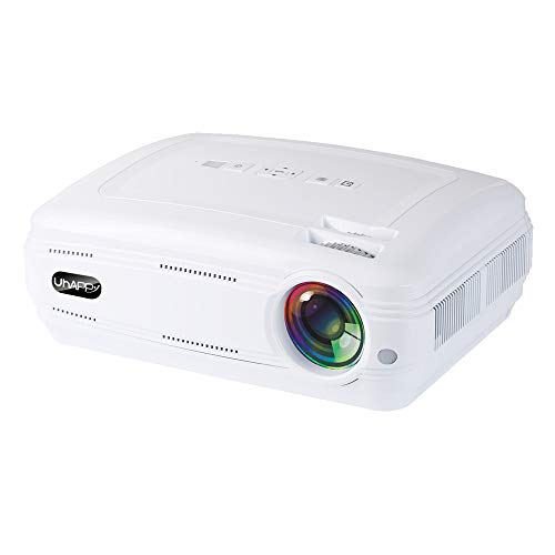 FSM88 WiFi-Projektor, tragbarer Multimedia-Filmprojektor Kompatible 1080P-Heimkino-Unterstützungslautsprecher Kompatibel mit Tablet/TV-Stick/DVD-Player,White - Smart-tv Dvd-player Mit Eingebaute