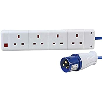 Invero 16 Amp Plug to 4-Gang Mains Extension Lead UK Socket 4 Way 13Amp Boats and Caravan Electric Hook Up 10m Ideal for Motorhome
