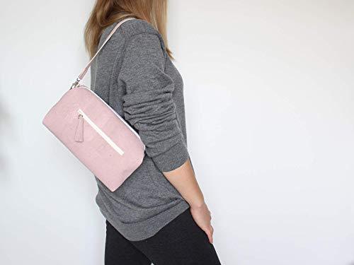 Kork Handtasche, Umhängetasche, vegan, rosa Schultertasche, Geschenk, - 6