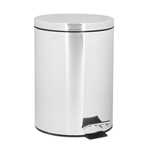 Relaxdays Poubelle en inox ronde à pédale 5 litres vide-ordures Seau plastique amovible poignée transport H x D: 27 x 20,5 cm acier inoxydable optique métal cuisine salle de bain, gris argenté