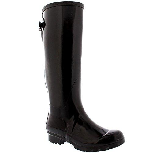 Damen Adjustable Back Tall Gloss Regen Wellies Gummistiefel Stiefel Braun