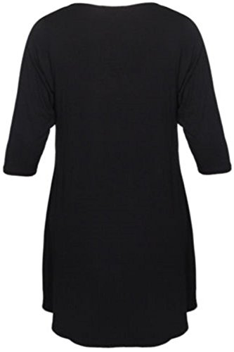 Neue Frauen Plus Size Ungleiche Dip Hem Lange Tunika Tops 42-56 Black