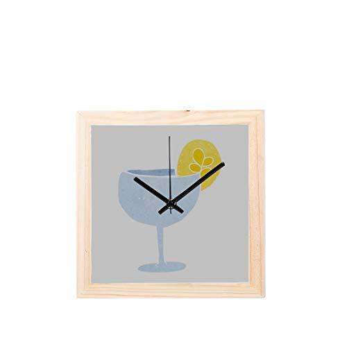 Wietops Cocktail Drink Mit Kaltem EIS Nicht tickt Platz Stille Holz Diamant Große Display Digital Batterie Wanduhren Malerei Zifferblatt Für Küche Kind Schlafzimmer Home Office Decor