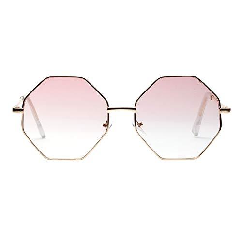 Sonnenbrille Modische Damen Vollrand Achteckige Linse Mode einzigartiges Design Brillen Zubehör charmante Damen Sommer tragen(B,free)