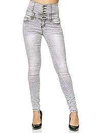 be2de754ba0c3 Amazon.es  Pantalones Cintura Alta - Gris   Pantalones   Mujer  Ropa