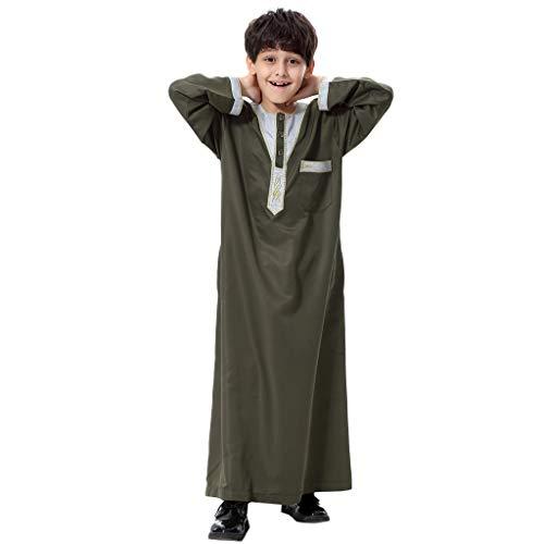 feiXIANG Muslime Bekleidung für Jungen Kimono Arabische Islamische Dubai-Robe Langärmelige Kaftan Maxikleid Abendkleid ()