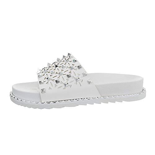 Ital-Design Damenschuhe Sandalen & Sandaletten Pantoletten Synthetik Weiß Gr. 37