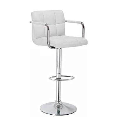 Bargains-galore® Brand New Breakfast Bar Stool Faux Leather Barstool Kitchen Stools Chrome Chair White