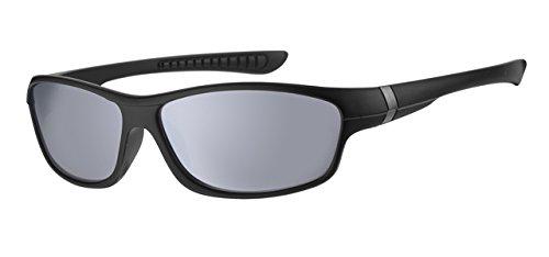 Eyewear World Kinder-Sonnenbrille, mit schwarzem Rahmen, 5-9 Jahre, silberfarbene verspiegelte Gläser