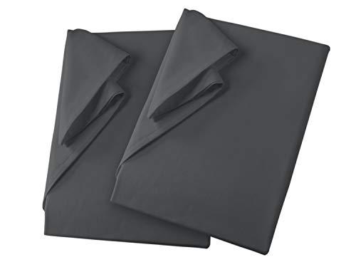 Doppelpack - Laken - 100{8312b4f9ec35f49dba2b317f444cd31b2a93616277975aba8941ea1d00cf2463} Baumwolle - Haushaltstücher ohne Spanngummi - in 5 natürlichen Farbtönen - in 3 verschiedenen Größen, ca. 150 x 250 cm, anthrazit