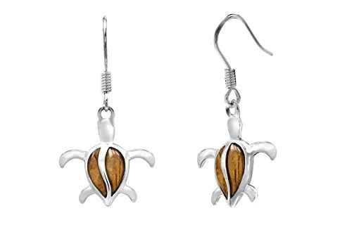 Sterling Silber Koa Holz petroglyphe Schildkröte Haken Ohrringe von Honolulu Jewelry Company