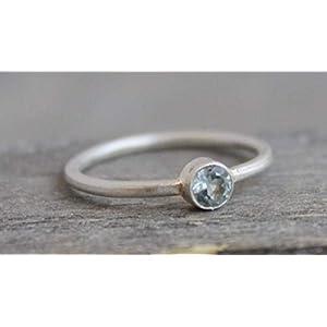 Blautopas Edelstein Sterling Silber Ring Größe 8 / Diameter 18.2mm (norway)