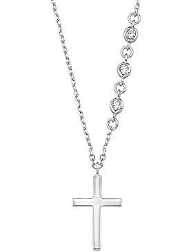 s.Oliver Kinder-Kette mit Anhänger 38+2 cm Kreuz Mädchen 925 Silber rhodiniert Zirkonia weiß 2015025