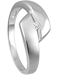 Diamond Line Diamant-Ring Damen 375 Gold mit 1 Diamanten 0.03ct. Lupenrein