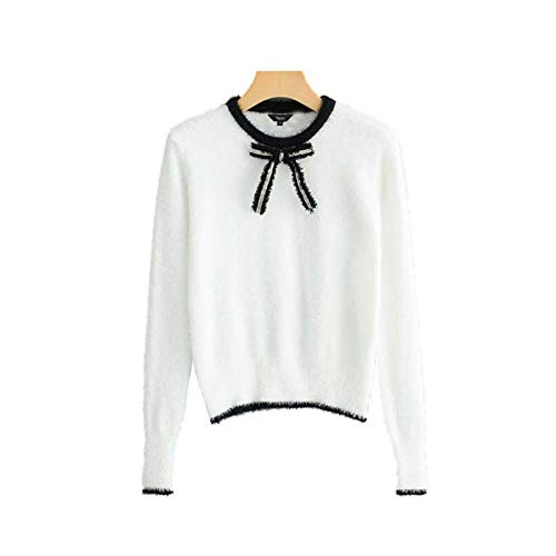SIKESONG Kurze Strickpullover raupe Bow tie Long Sleeve Preppy Stil Stretchy Pullover and Cute Tops m