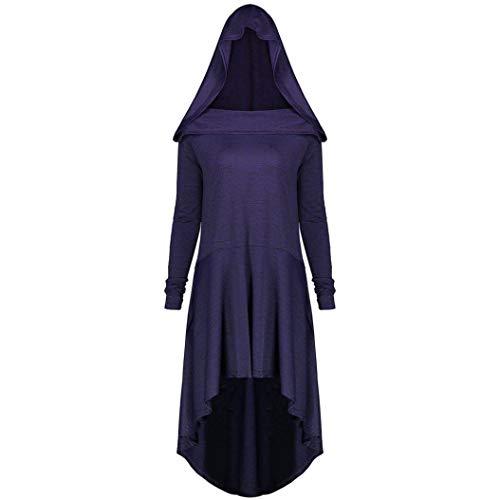 SHOBDW Damen Lässig Plus Größe Schnürung mit Kapuze High Low Dress Frauen Frühling Herbst...