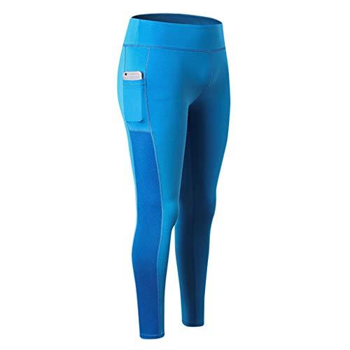 MOTOCO Frauen Sport Leggings Damen Workout Yoga Fitness Hosen Athletisch Dünne Laufen Fitness Stretch Hose Size 36-42(S(34),Blau)