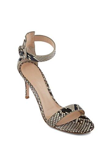 EDEFS Damen Peep Toe 80mm High Heel Sandalen mit Schnalle Sommer Stilettsandalen Knöchelriemchen Schuhe Schlange