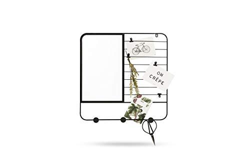 LIFA LIVING Kleiner Wandspiegel mit Notizgitter, Quadratische Kombination aus Spiegel und schwarzem Metallgitter, Notizen Fotos Postkarten, 48 x 48 x 2 cm