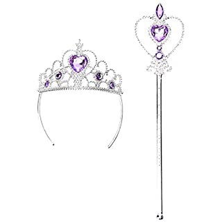 Lovelegis (Purple) Crown and Wand Set for Little Princess Queen Girls with Colored Stones - Halloween Disguise Cosplay Costume Accessories