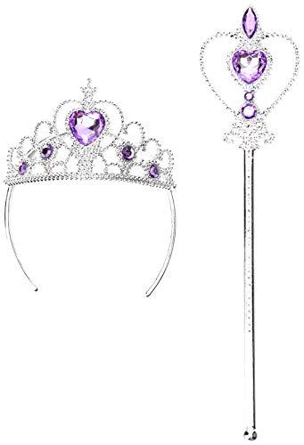 Lovelegis (Lila) Krone und Zauberstab für kleine Prinzessin Queen Girls mit farbigen Steinen - Halloween Cosplay Kostüm für Cosplay