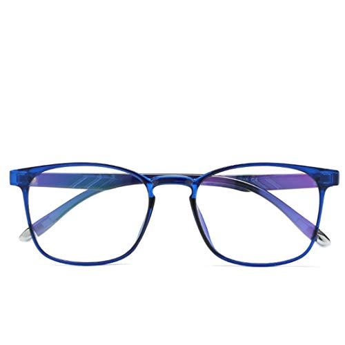 Limeinimukete Anti-Blaulicht transparente Süßigkeiten Farbe leichte TR90 Blaue Film Computer Schutzbrille für Frauen, Männer (Color : Blue)